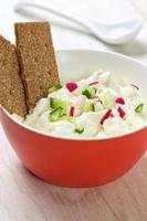 cottage cheese with vegetables photo