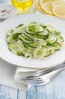 ensalada con pepino, hinojo, cebolla verde y menta