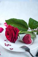 Romantic table setting  with rose