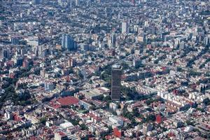 mexico city aerial view landscape from airplane