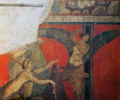fresco's in de ruïnes van pompeii, napels, italië