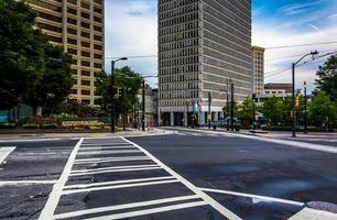 Crosswalk and buildings in downtown Atlanta, Georgia.