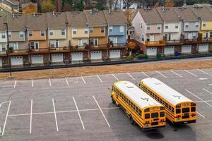 School buses in Atlanta, Georgia, USA.