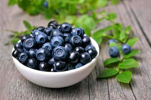 Bowl of blueberries photo
