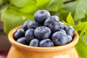 Jug with blueberries photo