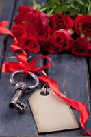 roses and an old key