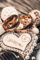 I love you heart and wedding rings photo