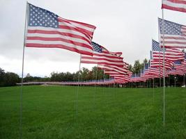 drapeaux américains en l'honneur des attentats du 11 septembre