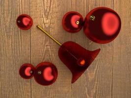 bolas de árbol de navidad y campana foto