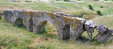 Roman aqueduct in Spain. photo