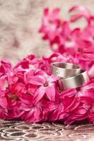 Wedding rings on red hyacinth