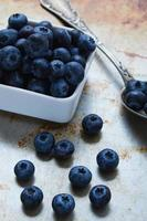 blueberries on steel plate photo