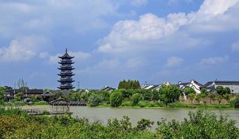 Traditional Temple at Wuzhen Water Village at Daytime in China