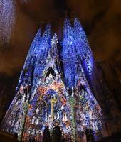 Sagrada Familia with multiple colors (Barcelona) photo