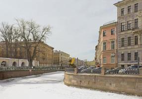 Winter landscape with frozen canal in St. Petersburg photo