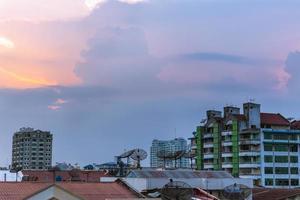 Sunset in the Yangon city