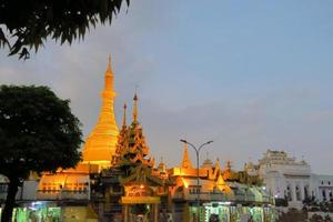 Illuminated Sule pagoda in Yangon, Myanmar