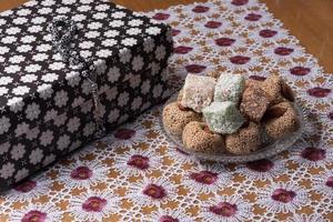 Arrangement of fig and turkish delight