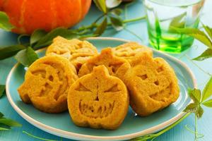 Pumpkin cookies on Halloween. photo