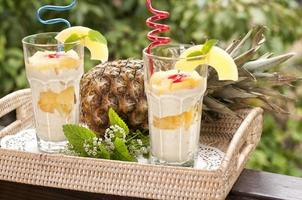 Dessert with pineapple