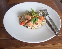 Delicious fried rice with salmon