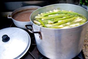 Asparagus in pot photo