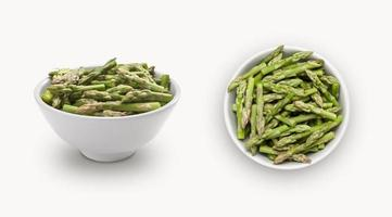 small asparagus in small white bowl