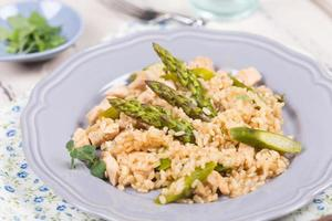 Dietary risotto of wild rice with turkey and asparagus