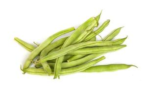 Bunch of fresh green beans on white photo