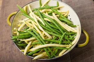 Bowl of fresh picked yellow and green beans