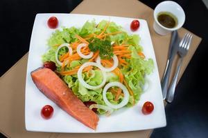 Grilled salmon salad photo