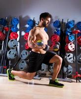 Dumbbell man workout fitness at gym