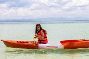 Beautiful Girl With Kayak Paddle  Travel and Vacation