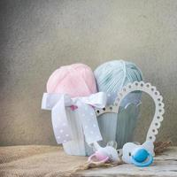 Yarns in a row for baby items photo