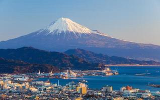 Mountain fuji and seaport at Shizuoka prefecture photo