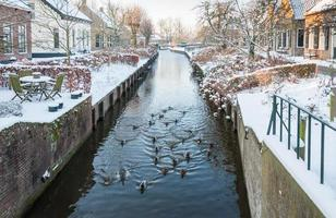 canal de pueblo holandés en invierno