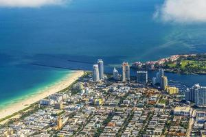 Miami aerial of town and beach photo