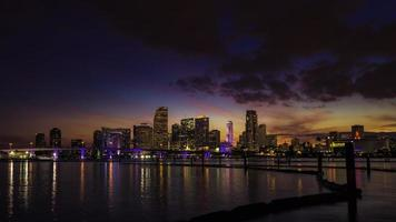 Miami city skyline at dusk with urban skyscrapers with reflection