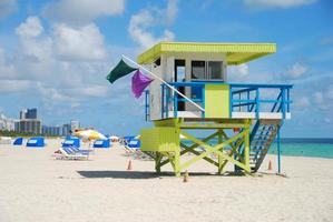 Colorful lifeguard station