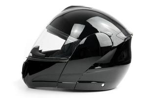 Black, shiny motorcycle helmet photo