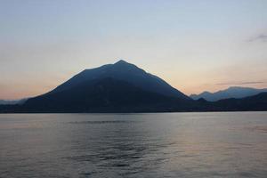 Mountains and lake photo