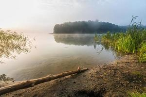 Morning foggy lake photo