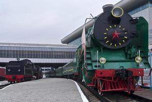 Retro train at the railway station in Kiev