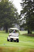 carrinho de golfe em curso