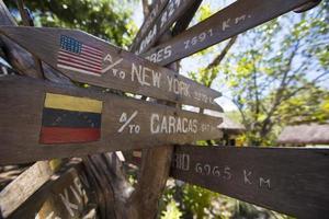 Destination Wooden sign arrows, venezuela photo