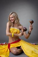 Happy  dancer in mexican costume photo