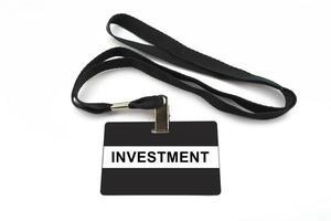 investment badge isolated on white background photo