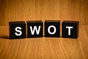 SWOT word on black block photo