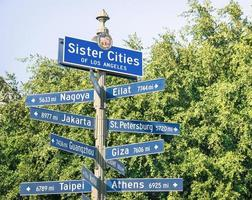 letrero de la calle moderna de ciudades hermanas de los angeles