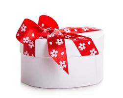 white gift heart box